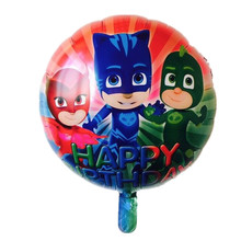 Wholesale 50pcs 18 Inch PJ MASKS Happy Birthday Foil Balloons Superman Globos Birthday Party Decorations Kids Air Balloon