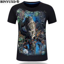 New 2017 high quality printed eagle t shirt men short sleeves funny T-shirt summer hot The tall man 3D stamp S-6XL canine wolf
