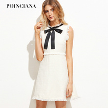 Autumn Dresses Women 2017 Runway Fashion Ladies White Party Dresses Bow Tie Neck Sleeveless Elegant Frayed Trim Tweed Dress