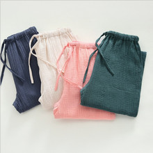 New women sleep bottoms cotton material sand wash clothes comfortable elegant simple woven drawstring full length(China)