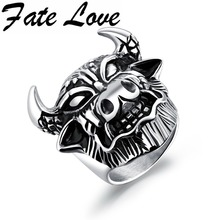 Fate Love Hot Sale Classic Cow Shape Punk Male Rings Stainless Steel Vintage Finger Rings Men's Ornaments Jewelry Boys Gifts 580