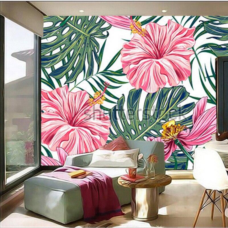 Custom 3D large mural,tropical flowers, palm leaves, hibiscus papel de parede ,living room TV wall bedroom wallpaper<br>