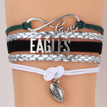 (10PCS/LOT) Infinity Love Philadelphia State Eagles NFL football Team Sports Bracelets Customized Wristband friendship Jewelry