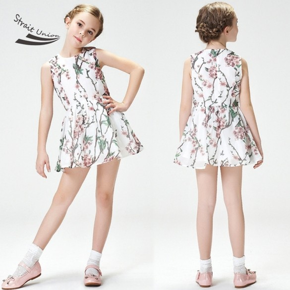 2017 New Summer Girls Dress Baby Girls  Sleeveless Kids Fashion Floral Princess Dresses Casual Party Dress<br><br>Aliexpress