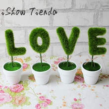 New 4Pcs LOVE Simulation Plant Pot Gift Artificial Flower Plant Home Decor Art*diy artificial flowers Hot Sale Drop Shipping(China)