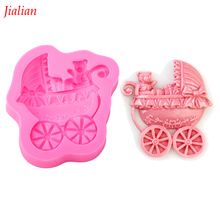 Jialian Baby Bear stroller chocolate silicone mold fondant cake decoration Kitchen soap Tools FT-0088