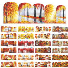 1 Sets 12 Designs Beauty Fall Theme Nail Art Sticker Decals Nails Decorations DIY Tattoos Manicure Tools SABN505-516(China)