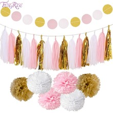 FENGRISE Circle Garland Tissue Paper Pompom Christmas Home Decorations Birthday Party Kids Boy Girl Baby Shower Supplies