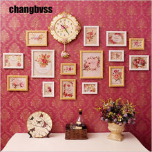 European Style Yellow White Wall Photo Frame With Clock Wooden Picture Frame Combination DIY Photo Frames Set porta retrato