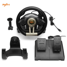 PXN-V3II Illusiveness Vibration Motor Racing Game Steering Wheel With Pedals PC Game Hardware USB Wired For PC Racing Game