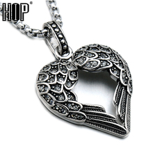 HIP Punk Gothic Titanium Stainless Steel Angel Feathers Heart Shape Pendants Necklaces for Men Jewelry