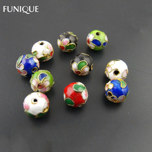 FUNIQUE 10mm Cloisonne Ball Beads 30PCs Random Mixed Assorted Colors Spacer Beads 2mm Hole Beads For DIY Crafts & Charm Bracelet