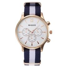 MIGEER Luxury Fashion Black & White Strap Watch Men Quartz Watch Casual Males Sport Business Wrist Men Watch,relogio masculino(China)
