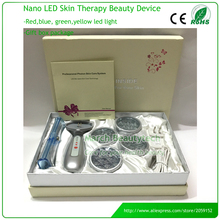 bio wave red blue yellow green led photon light skin therapy whitening tightening acne treatment facial beauty massager machine