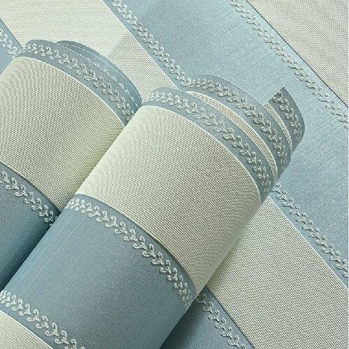 Blue Fabric Striped Wallpaper Roll  Sofa Background   listrado papel de parede para sala zk12<br>