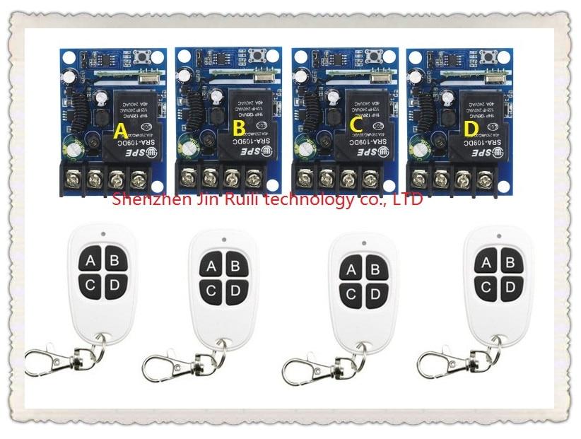 New DC12--48V 12V 24V 36V 48V 1CH 10A RF Wireless Remote Controller Relay Switch System 4 Receiver&amp; 4Transmitter Light ON OFF<br>