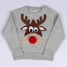 Baby Girl Sweater Autumn Winter Cartoon Deer Knitted Sweaters Toddler Girls Knitwear Pullover Tops Children Clothing Christmas