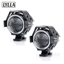 2PCS LYLLA 12V 125W Motorcycle U7 LED Headlight 3000LM led DRL Fog Spot Light Lamp Angle Devil Eyes Moto Spotlight Waterproof(China)