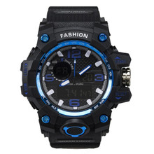 Double Display Electronic Watch Multifunction Luminous Waterproof Men Watches LED Sports Electronic Relogio Digital Clock E59(China)