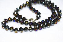 Hot natural 5X8 mm Colorful black crystal Faceted Jewel Necklace 18AAAA
