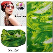 100pcs/lot Wholesale Nice Popular Outdoor Sport Green Polyester Seamless Multifunctional Headwear Tube Bandana (Mixed Design OK)