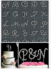 Free shipping English Alphabets A to Z monogram cake topper initial rhinestone letter cake topper(China)