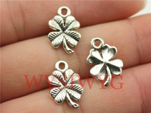 WYSIWYG 20pcs 17mm antique silver clover charms