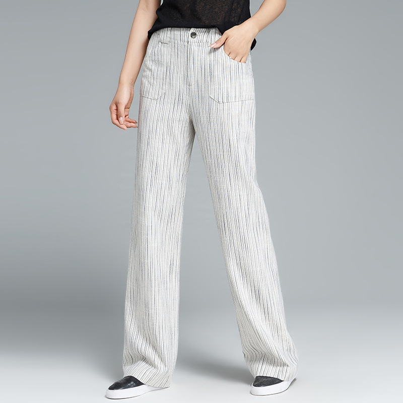 2018 New Women Fashion Pants High Waist Wide Leg Linen Cotton White Casual Straight Striped Trousers For Spring Summer S 4XL 5XL