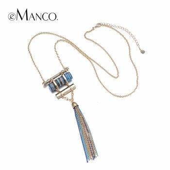 EManco Mode Exquis Gland Ethnique Long Collier & Pendentif Femmes Turquoise Or Plaqué Marque Bijoux & Accessoires