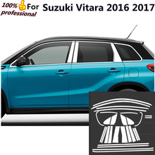 for Suzuki Vitara 2016 2017 2018 body stick stainless steel glass window garnish pillar middle strip trim frame lamp hood parts(China)