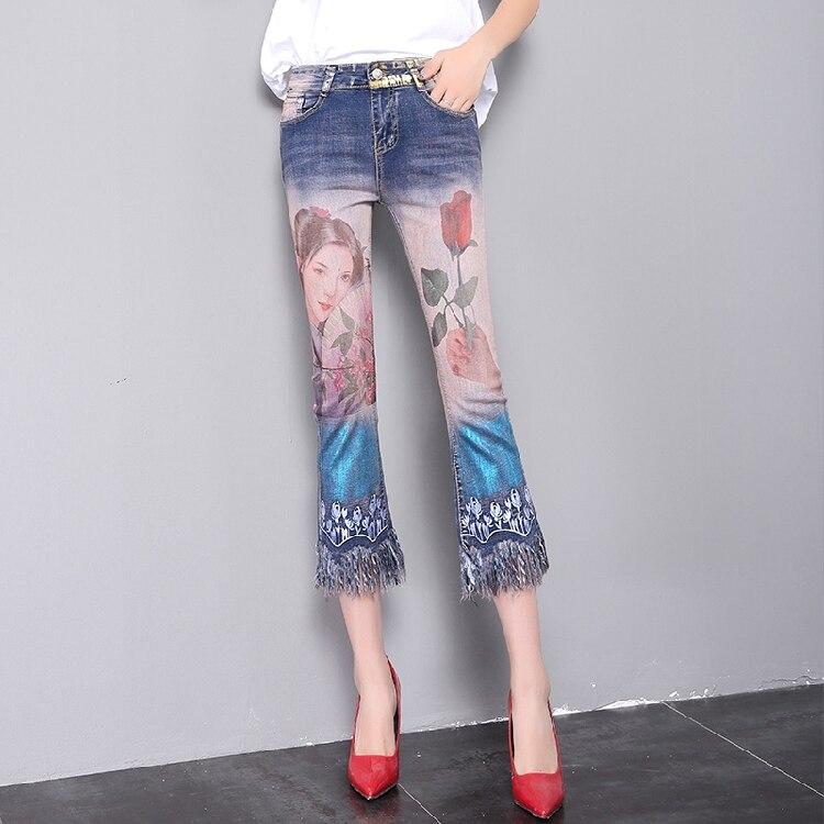 QA1204 Fashion painted tassel flare pants women high quality denim jeans mujer ankle length pantalon femmeÎäåæäà è àêñåññóàðû<br><br>