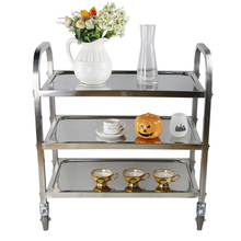 YONTREE 1PC 201 Stainless Steel Dinning Trolley Non-magnetic Multifunctional Sreving Cart Stock in US(China)
