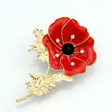 Red Poppy Flower Diamante Crystal Broach Banquet Badge Brooch Pin Breastpin Crystal Beauty M574