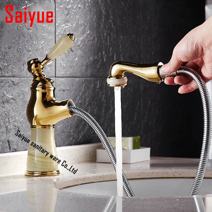 Retro marble Jade gold-plated single handle Basin Faucet Vessel Sink hot and cold Mixer Tap for bathroom pull out spout<br><br>Aliexpress