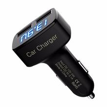 2017 Hot Car Usb Socket 4 In 1 Dual USB Car Charger Adapter Voltage DC 5V 3.1A Tester For Phone Car Charger Adapter New Auto ABS