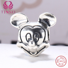 100% Authentic 925 Sterling Silver Mickey Mouse Beads Fit Pandora Charm Bracelet DIY Original Silver Fashion Jewelry(China)