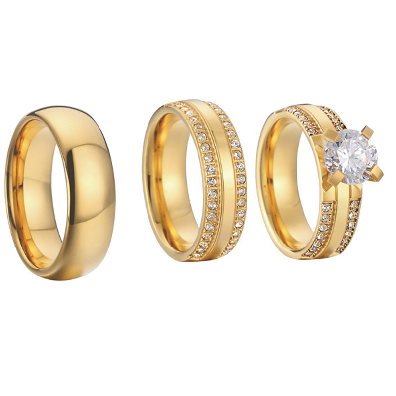 China wholesaler beautiful custom gold color 3 pieces titanium steel couples wedding band engagement rings sets anel (2)