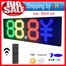 "LED Sign RGB 39""x14"" Remote control Programmable Scrolling Outdoor Message led Display Open 7 Color Message Board(China)"