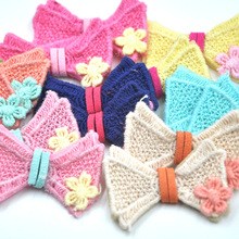 7PCS Fabric Crochet Flowers Bows Appliques Winter Deco Lots Mix B298