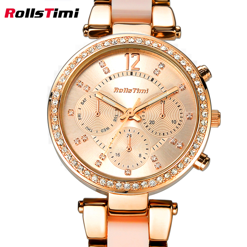 Hot Sell Watches women fashion watch 2016 ROLLSTIMI Rose Gold Color Dress Quartz-watch montre femme marque de luxe orologi donna<br>