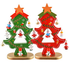 1Set Mini Christmas Decoration Wooden Craft Christmas Tree Decoration Children Gift For New Year Home DIY 2017 Navidad Gift