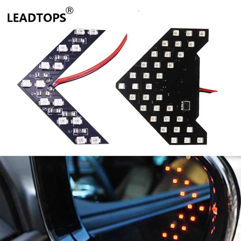 LEADTOPS 2PCS 33/14 SMD LED Arrow Panels Car Side Mirror Turn Signal Indicator Sequential 5 Colors Flash Light Lamp BE<br><br>Aliexpress