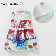 YWHUANSEN Flowers Children's Costumes For Girls Cotton Colorful House Girl Clothes Summer Girl Dresses 2017 Childen's Goods Kids
