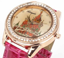 Women Vintage Retro Temple House Face Crystal Leather Band Analog Quartz Wrist Watch