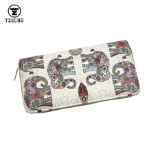 TZECHO Zipper Around Womens Wallets PU Print Animal Long Organizer Femal Purses Coin Pocket Credit Card Holder Ladies Clutch Bag(China)