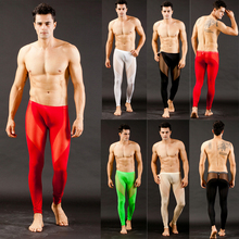 Men Long johns See Through Mesh Low Rise Thermal Pants Underwear Trousers S M L