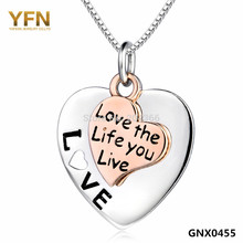GNX0455 Love The Life You Live Two-Tone Necklace For Women Jewelry 925 Sterling Silver Heart Pendant Necklace