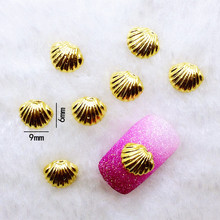10Pcs/Lot 6*9mm Gold Shell  Metal Alloy Nail Art Decorations 3D DIY Nail Stickers Jewelry Nail Charms