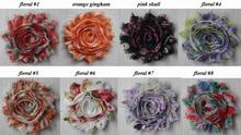 "Free DHL/EMS 60y 43 colors 2.5"" vintage shabby chiffon printed rose flower trim DIY headbands hair clips clothing embellishments(China)"