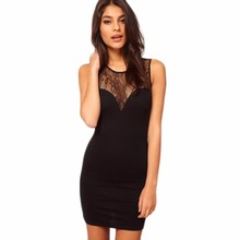 New Women Sexy Lace Dress Sleeveless Slim Hip Bodycon Dresses Cocktail Hollow out Club Party Dress Round neck Black Mini Dress